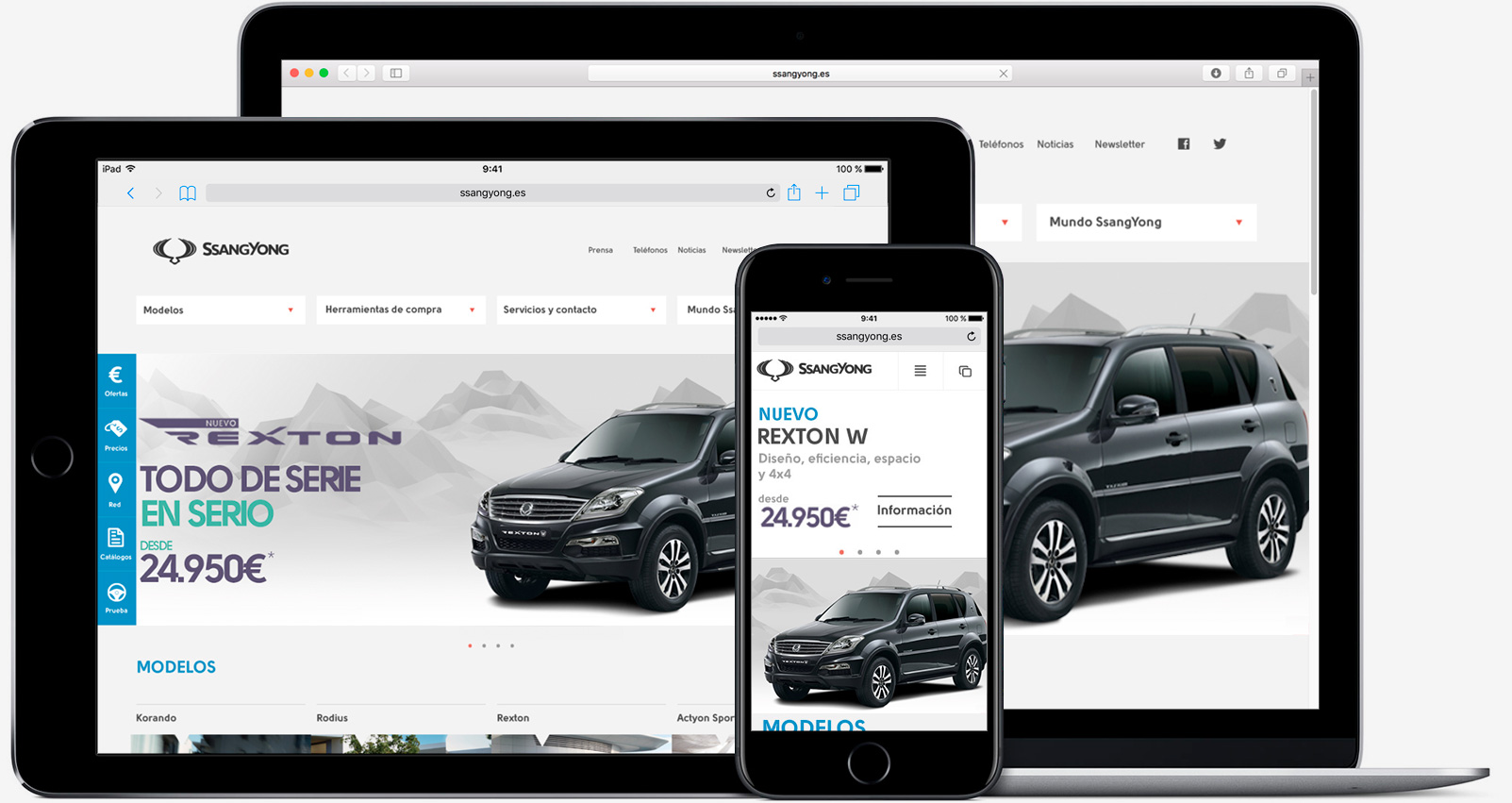 dispositivos con web de ssangyong